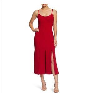 Dress the Population Devon Crepe Midi Dress Red